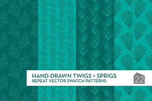 Hand-drawn Twigs+Sprigs Patterns