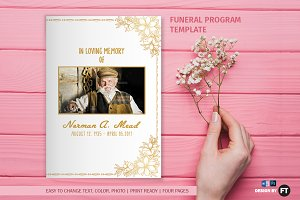 Funeral Program Template - Golden