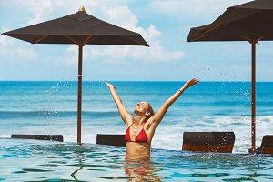 Fun in beach club pool