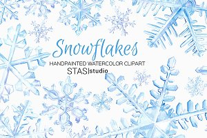 Watercolor Snowflakes Clipart