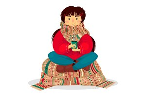 Scarf Girl Coffee cozy warmth