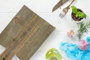 White wooden kitchen table.