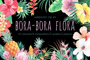 Bora-Bora flora.Watercolor clip art