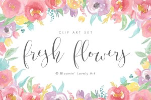 Watercolor Flower Clip Art - Florals