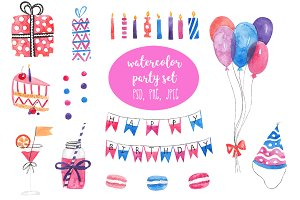 Watercolor party set