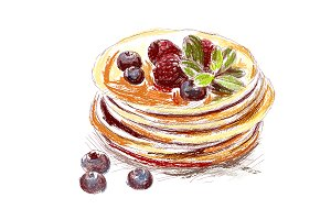pancakes with berries, breakfast