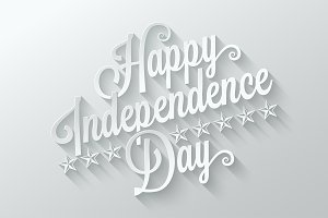 independence day cut paper lettering