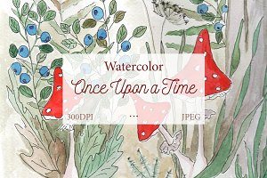 SALE! Watercolor amanita in forest