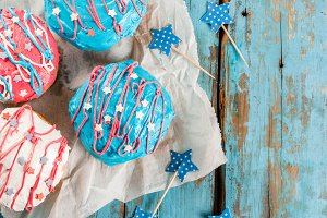 Colorful donuts for 4th of July
