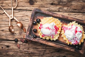 ice cream on waffles
