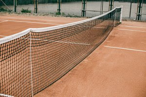Tennis court with a grid for professional games.
