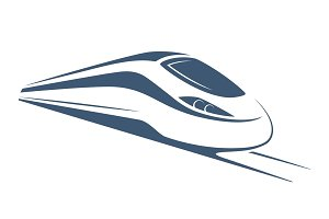 Modern high speed train emblem, icon, label, silhouette.