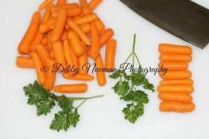 Carrots & Parsley on cutting board