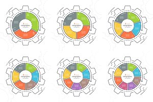 Set of gear shaped flat style infographic templates 3-8 steps.