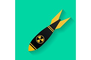 Icon of air bomb or missile with radiation sign. Nuclear weapon symbol