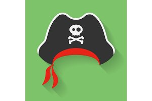 Vector Pirate Hat with a Jolly Roger symbol.