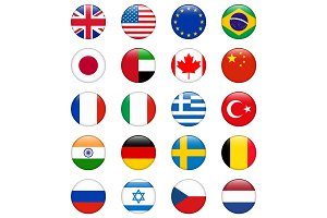 Set of popular country flags. Glossy round vector icon set