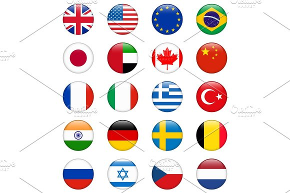 Set Of Popular Country Flags Glossy Round Vector Icon Set