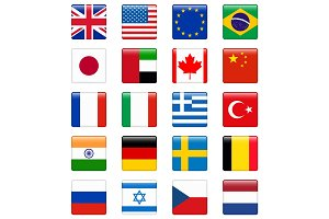 Set of popular country flags. Glossy square vector icon set