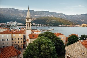 Old town in Budva in Montenegro, summer