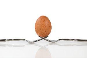 Whole Brown Egg on Forks