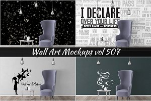 Wall Mockup - Sticker Mockup Vol 507