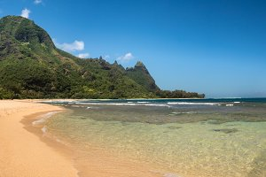 Panorama of Tunnels beach on the north shore Kauai