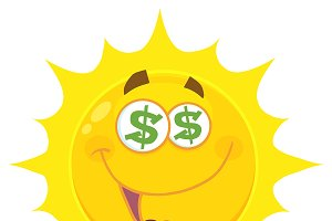 Funny Yellow Sun With Dollar Eyes