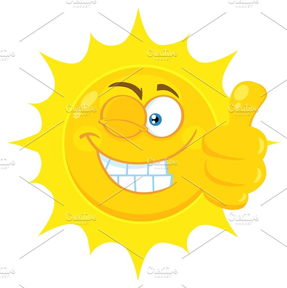 Smiling Yellow Sun Giving A Thumb Up