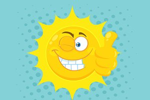 Smiling Yellow Sun Cartoon Character