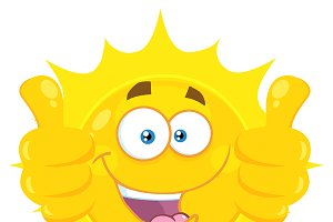 Yellow Sun Giving Two Thumbs Up