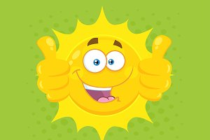 Yellow Sun With Green Background