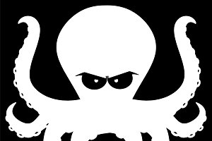 Angry Silhouettes Of Octopus