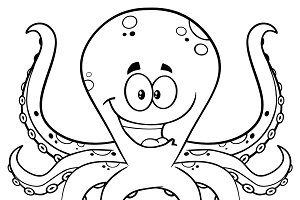 Black And White Happy Octopus