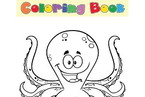 Coloring Book Page With Octopus