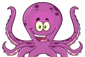 Octopus Cartoon Mascot Character