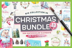 Watercolor Christmas Bundle - $13