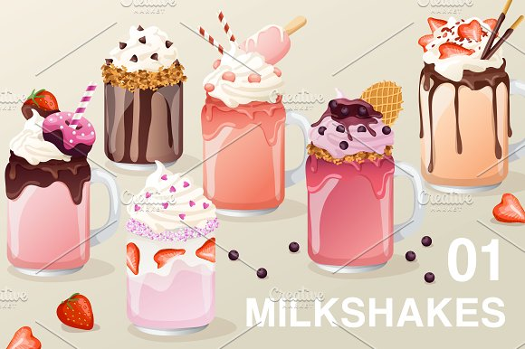 Set Of Fancy Milkshakes01