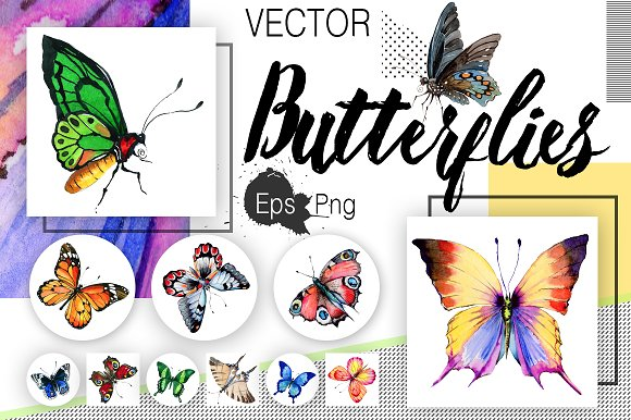 Watercolor Butterflies Eps And Png
