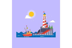 Cool flat design fishing boat seaway transportation.Lighthouse on rock stones island cartoon vector background. Vector illustration