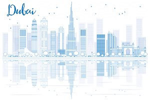 Outline Dubai skyline