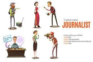 Journalist Cartoon Set