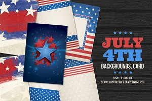 July 4th Backgrounds, Cards