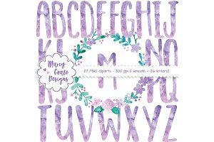 Purple Watercolor Wreath & Alphabet