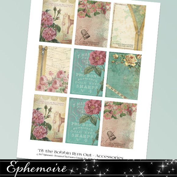 Printable Sewing Theme Journal Cards