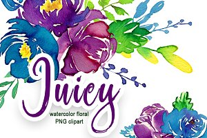 Juicy watercolor flowers PNG