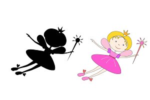 Cartoon fairy with a magic wand