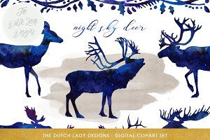 Deer, Reindeer & Moose Clipart Set