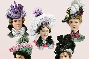 Victorian Women in Hats Clipart Set