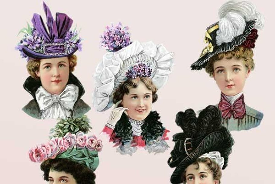 new authentic pretty cheap coupon codes Victorian Women in Hats Clipart Set